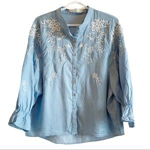 LUNA tencel chambray embroidered button down shirt